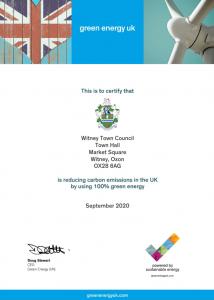 100% Green Energy certificate
