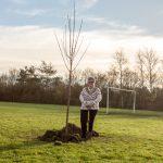 Mayor Joy Aitman planting a sycamore maple in Eton Close play area
