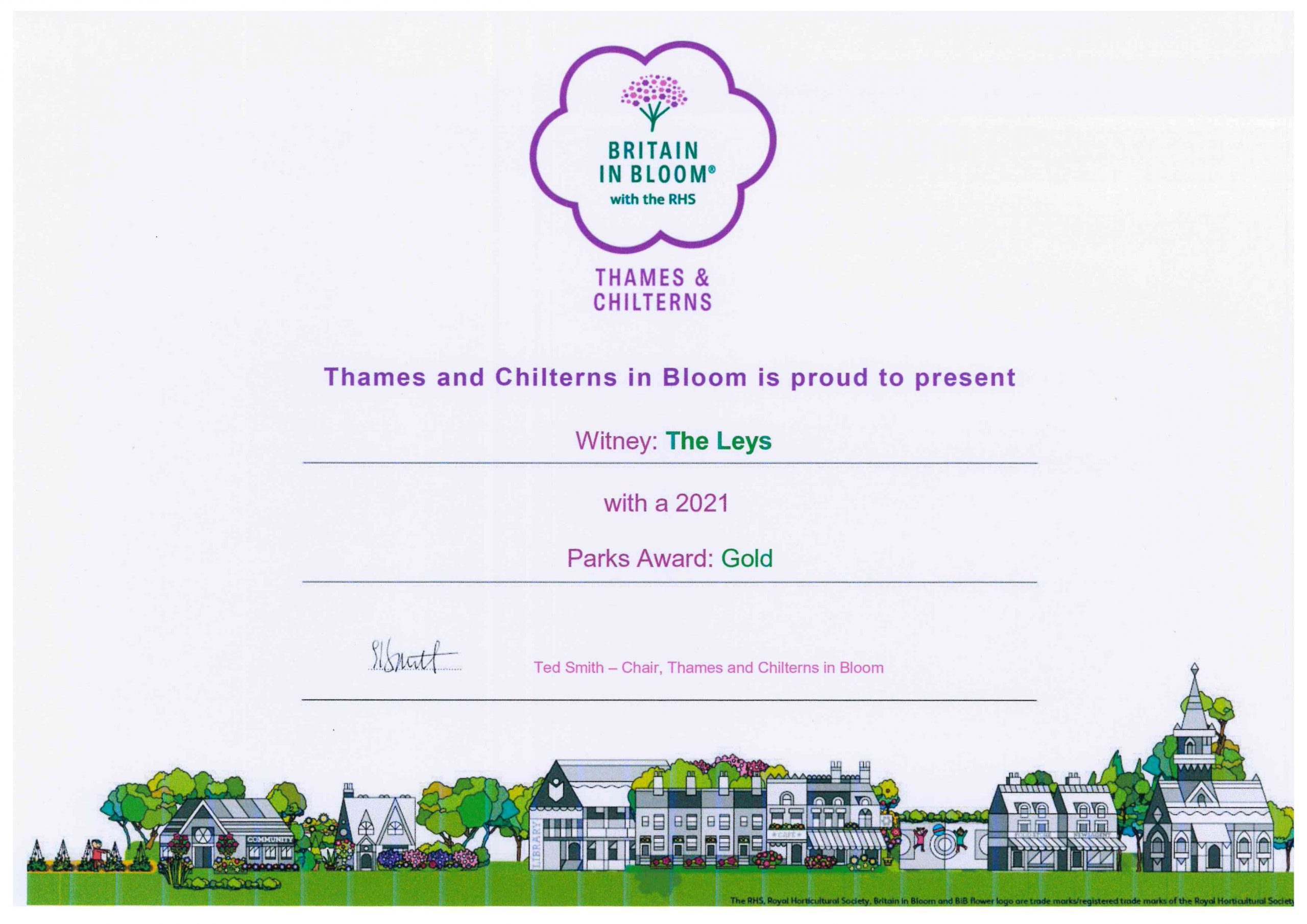 The Leys Gold certificate In Bloom
